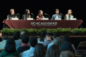 Graducon 2019 at I-House Panel discussion: Careers in Consulting Moderator Pam Schilling, left to right, Anna Chen, Karen Wasserman, Andrew Kirkley, Brittany Hayden. (photo by Anne Ryan)